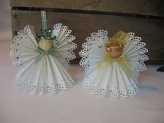 Angel Christmas Ornament White Paper Ribbon by SnowNoseCrafts