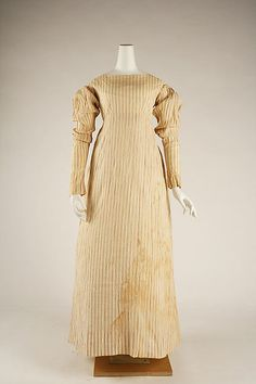 Dress ca. 1820,  American, cotton Dimensions: Length at CB (a): 52 in. (132.1 cm) Length at CB (b): 29 3/4 in. (75.6 cm)