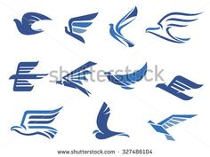Flying blue birds as eagle, hawk, falcon and dove in flight. For business, delivery, transportation or travel design Flight Logo, Eagle Icon, Fast Logo, Falcon Logo, Soul Stone, Eagle Design, Bird Logos, Eagle Logo, Bird Illustration