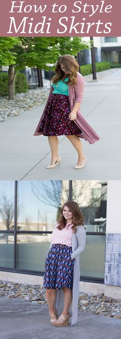 How to style midi skirts for any season. A list of midi skirt outfit ideas and how to pair them with heels, flats and cardigans.
