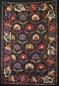 Uzbekistan, Shehrisabz suzani, silk embroidery on cotton with tulips and Carnation. Size: 36″ x 53.5″ (92cm x 136cm)  | TurkishFolkArt