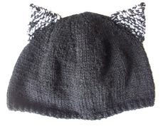 Black kitty cat hat with ears. Hand Knitted by thekittensmittensuk, £14.99