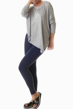 Our unique, sporty Hanging Loose tee is the first thing you'll reach for in the morning, and the last thing you'll take off at night. It will warm you up after a swim, and carry you through the day with ease. Women's athletic apparel doesn't get any more chic than this. Made in the U.S.