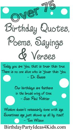 Over 75 fun Birthday Quotes, Poems, Sayings and Verses for birthday cards and…
