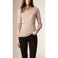 c9231b55ab2 Burberry Floral Appliqué Cashmere Cotton Sweater ( 1