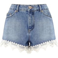 Miss Selfridge Crochet Hem Denim Short (€11) ❤ liked on Polyvore featuring shorts, bottoms, mid wash denim, crochet shorts, denim short shorts, macrame shorts, denim shorts and short jean shorts