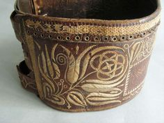 Man's belt from Transylvania. Traditional hungarian leather lacing. Museum of Ethnography, Hungary.