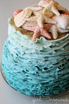 Impress your guests at your next summer party with this adorable DIY Ocean Waves Ombre Cake. Click to see the tutorial!