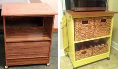 Microwave cart DIY, before and after :) just add fresh paint, baskets, and hooks for towels.
