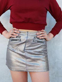 JANSION Women Shiny Metallic Mini Skirt Wet Look Bodycon Pencil Dress Dance Skirts Clubwear
