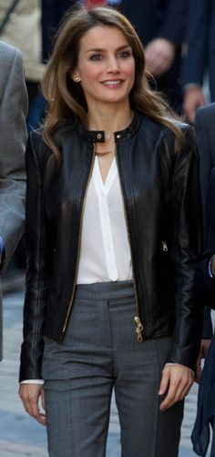 That leather Jacket with formals look.