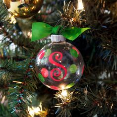 Monogram Christmas Ornament  Glass Ball by ThePreppyLadybug, $15.00