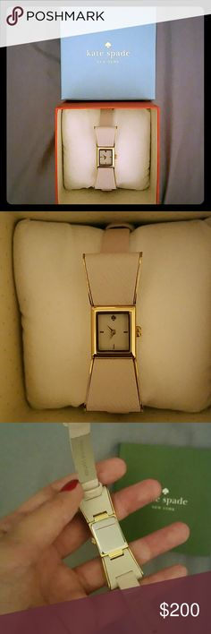 """*AUTHENTIC* Kate Spade """"Kenmare Strap Watch"""" NWOT Selling an AUTHENTIC Kate Spade """"Kenmare"""" bow watch. Nude color, water resistant, very cute and girly ! Brand new, never worn, do not have tags but the sticker is still attached to back of watch. I have the original box, watch cushion, and Kate Spade watch manual. Watch style is too small for me, but would love a happy home !  https://m.katespade.com/products/kenmare-strap-watch/KSWB0898.html?cgid=ks-jewelry-watches&dwvar_KSWB0898_color=102…"""