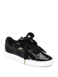 best sneakers c9a61 733dc PUMA Basket Heart Faux Patent Leather Sneakers Puma Basket Heart, Pumas  Shoes, Leather Sneakers