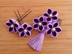 髪飾り 着物 袴 和装 卒業式 成人式 お正月 つまみ細工 藤紫_画像3