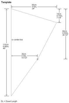 Sail template for the MBK Dowel Diamond kite. All measurements are given in both centimeters and inches.