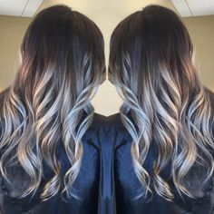 Dark to light balayage ombre with platinum silver tone
