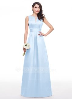 A-Line/Princess V-neck Floor-Length Ruffle Zipper Up Regular Straps Sleeveless No Other Colors Spring Summer Fall General Plus Satin Bridesmaid Dress