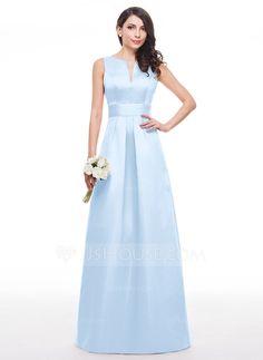 A-Line/Princess V-neck Floor-Length Ruffle Zipper Up Regular Straps Sleeveless No Other Colors Spring Summer Fall General Plus Satin Bridesmaid Dress