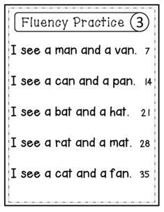 Looking for a fluency starter pack that isn't too difficult for beginning and struggling readers? The words and sentences are made up of short vowel and sight words only. 1st Grade Reading Worksheets, First Grade Reading Comprehension, Phonics Reading, Teaching Phonics, Kindergarten Reading, Cvc Worksheets, Reading Activities, Cvc Words, Sight Words