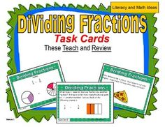 These task cards are unique because they teach about dividing fractions.  Plus, they provide practice too.  Word problems and standard form math problems are both included to help students understand this math skill in a variety of contexts.  This meets the rigor of the new Common Core Standards and other assessment tests.  The helpful diagrams and teaching tips help students gain the skills that are needed to master math skills.  A printable box is also included.