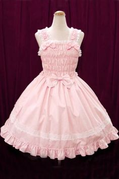 2014 Sling Pink Cotton And White Lace Sweet Lolita Dress With Bows, ocrun.com
