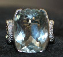 14K w/g 12ct Aquamarine and Diamond Ring, 1950's on Ruby Lane