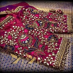 Gorgeous #blouse detailing... #indianwedding #indianwear #wedding #weddingdress #temple Wedding Saree Blouse Designs, Best Blouse Designs, Pattu Saree Blouse Designs, Dress Neck Designs, Hand Work Blouse Design, Maggam Work Designs, Hand Designs, Maggam Works, Marriage Preparation
