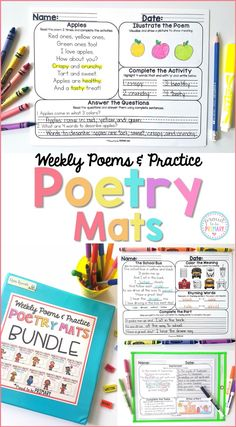 Teach a new poem each week and practice with differentiated activities to build literacy skills and reading fluency. Use Poetry Mats for independent practice and whole class lessons. The skills covered include connecting, reading comprehension, sequencing, writing, grammar, and phonics. #poetryforkids #poetry #readingfluency #teachingreading #earlyliteracy