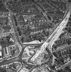 An aerial view of the Chiswick Flyover construction April 29 Vintage London, Old London, West London, Retirement Properties, London History, Old Street, London Photos, Aerial View, London England
