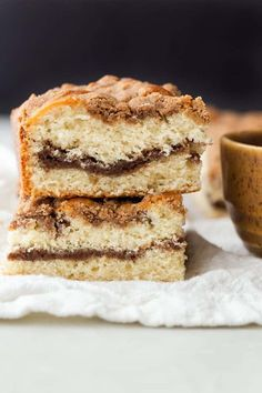 With a thick cinnamon streusel topping over fluffy, buttery cake and a ribbon of melty cinnamon through the center, this Cinnamon Crumb Coffee Cake is going to be a hit at your family breakfast. Cinnamon Streusel Coffee Cake, Crumb Coffee Cakes, Food Cakes, Cupcake Cakes, Cupcakes, Snack Cakes, Bisquick Recipes, Baking Recipes, Dessert Recipes