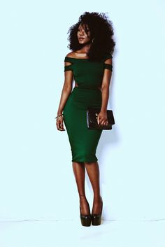 Dark green dress and Natural hair, fabulous!