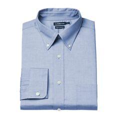 Men's Croft & Barrow® True Comfort Fitted Oxford Stretch Dress Shirt, Size: 18.5-34/35, Light Blue