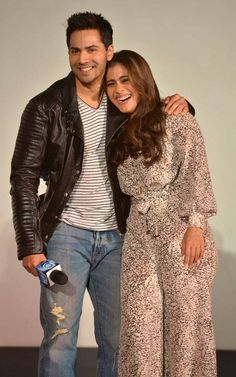 Varun Dhawan and Kajol in at the launch of #Gerua song from #Dilwale. #Bollywood #Fashion #Style #Beauty #Handsome #Cute