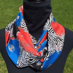 Red/blue zebra infinity scarf loop scarf circle by SissyandTodo