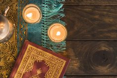 Quran near burning candles and pot Free Photo Ramadan Lantern, Quran Book, Red Color Schemes, Turquoise Background, Islamic Wallpaper, Creative Powerpoint Templates, Islam Hadith, Islam Quran, Floral Theme