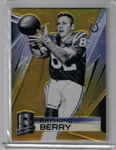 2014 Spectra Football Raymond Berry Gold Prizm Card #13/25 Baltimore Colts HOFer