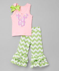 Look at this #zulilyfind! So Girly & Twirly Pink Tank & Pistachio Ruffle Pants - Infant, Toddler & Girls by So Girly & Twirly #zulilyfinds