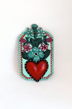 Tin Mexican red heart