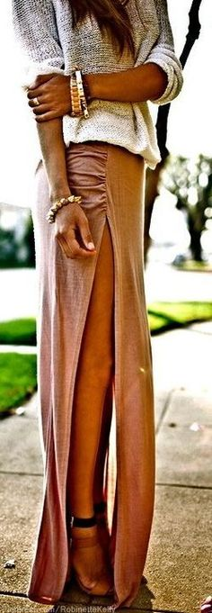 Side Cut Long Skirt With Sweater and chunky bracelets