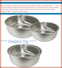 Freeze water between two bowls to keep food chilled