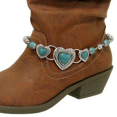 Turquoise Western Boot Charm Jewelry with Filigree Design & Heart Shaped Accents------nice Boot Jewelry, Cowgirl Jewelry, Anklet Jewelry, Western Jewelry, Anklets, Charm Jewelry, Jewlery, Boot Bling, Cowgirl Bling