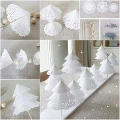 DIY Paper Doilies Christmas Tree Are you still looking for some ideas for Christmas decorations? These Paper Doilies Christmas Tree are pretty. Creative Christmas Trees, Diy Christmas Decorations Easy, Easy Christmas Crafts, Diy Christmas Tree, Homemade Christmas, Simple Christmas, White Christmas, Beautiful Christmas, Xmas Trees