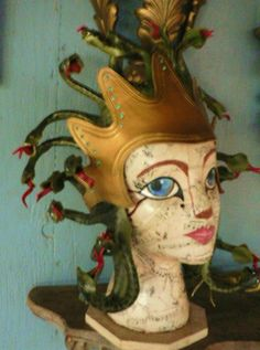 Crowned Medusa, leather headpiece crown antiqued bronze with green serpents