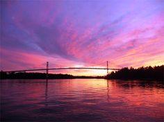 Thousand Islands Bridge at sunset, Surveyor Island, Ontario