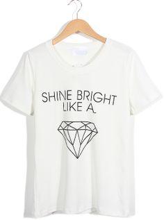 White Short Sleeve Letters Diamond Print T-Shirt US$17.71
