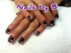 """Black and white with red detail """"Rockabilly"""" nail art design"""