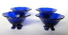 Cambridge Glass Four Cobalt Blue Footed Salt Dips Antique Dishes, Antique Glass, Cobalt Glass, Cobalt Blue, Color Blue, Colour, Fenton Glassware, Salt Cellars, Glass Bowls