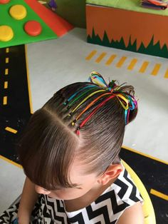Rainbow Ribbon Hair-Do Young Girls Hairstyles, Baby Girl Hairstyles, Princess Hairstyles, Cute Hairstyles, Natural Hair Updo, Natural Hair Styles, Gymnastics Hair, Girl Hair Dos, Super Easy Hairstyles