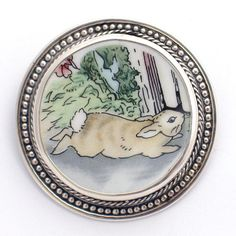 Broken China Jewelry Wedgwood Beatrix Potter Peter Rabbit Sprint Sterling Pin Brooch